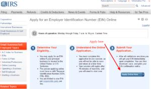Applying for a federal ein website screenshot