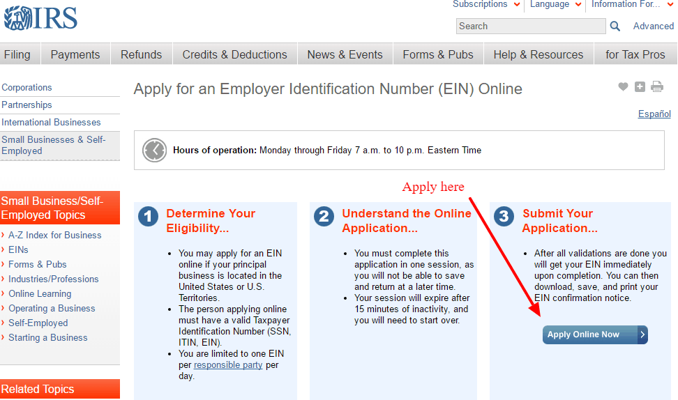 Applying for an federal EIN